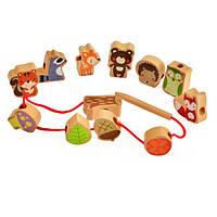 Развивающая деревянная шнуровка Лесные животные, фото 1