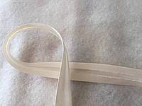 Коса бейка атласна бежева з рожевим відтінком, ширина 1,5 см, фото 1