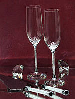 Набор свадебных аксессуаров с кристаллами (бокалы, нож и лопатка), фото 1