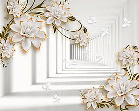 """3D фотообои """"Цветы и тоннель"""""""