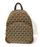 Рюкзак женский Michael Kors Medium Beige Jacquard Signature Backpack цвет Коричневый (BW-0385)