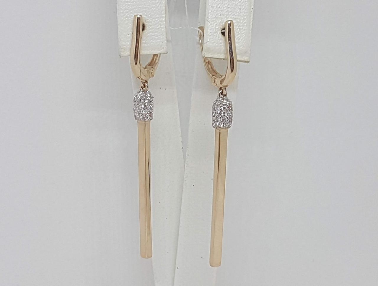Золотые серьги с фианитами. Артикул СВ1335И