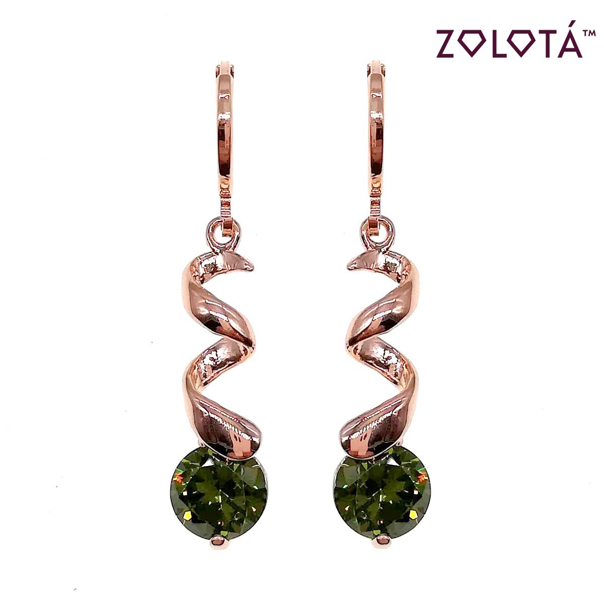 Серьги Zolota с зелеными фианитами (куб. цирконием), из медицинского золота, в позолоте, ЗЛ00651 (1)