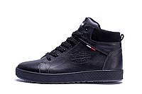 Мужские зимние кожаные ботинки Tommy Hilfiger Black (реплика), фото 1