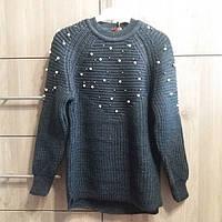 Кофта, светр, для дівчинки синя весна-осінь, зима в'язана з бусинками