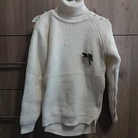 Кофта, светр, гольф для дівчинки молочного кольору весна-осінь, зима в'язана з брошкою