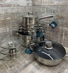 Набор кастрюль из нержавеющей стали 12 предметов RAINBERG RB-601