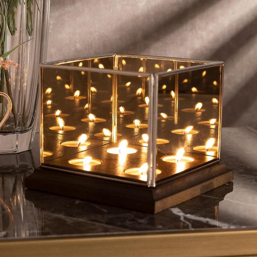 Подсвечник Doreline Infinity Gold Cubic 18 см
