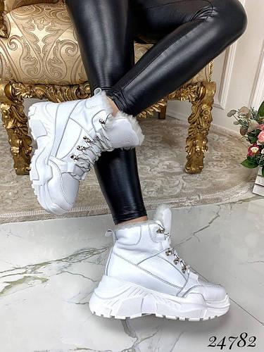 Зимние ботинки ?цвет: белый . ?материал: натуральная кожа 39 размеры