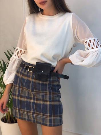 Женская короткая юбка в клетку с ремешком, фото 2