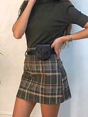 Женская короткая юбка в клетку с ремешком, фото 3