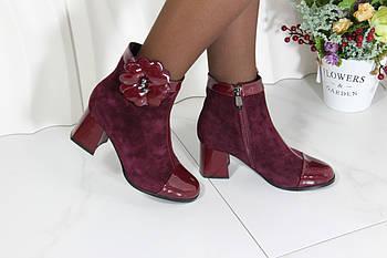 Бордовые замшевые ботинки малютки Berloni 211