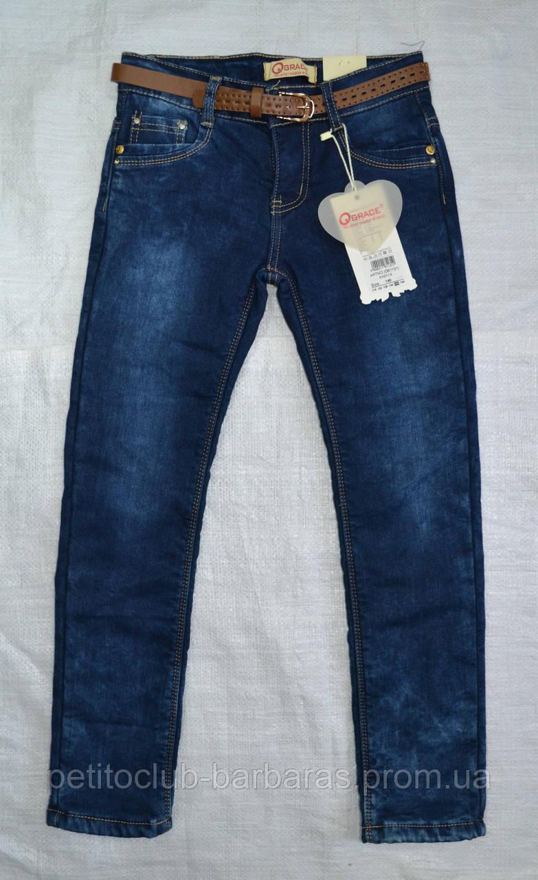 Детские джинсы с флисом для девочки темно-синие (р.140 см) (Grace, Венгрия)