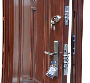 Уличные полуторные китайские входные двери ААА 722 автолак медь, фото 2
