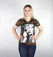 Женская летняя футболка коричневым цветом, фото 1