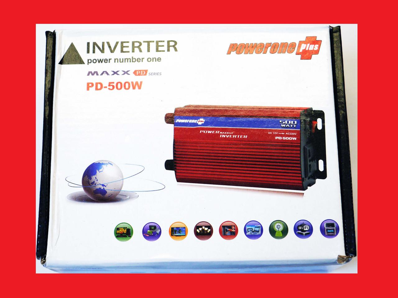 Інвертор перетворювач 500W, 12V з вольтметром