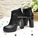 Демисезонные женские классические ботинки на высоком каблуке, из натуральной кожи черного цвета, фото 4