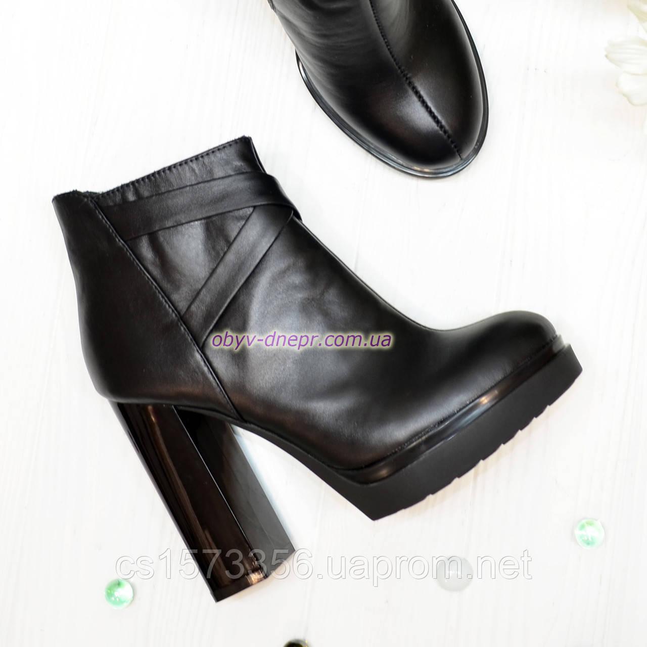Зимние женские классические ботинки на высоком каблуке, из натуральной черной кожи