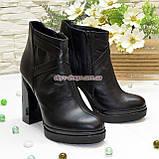Зимние женские классические ботинки на высоком каблуке, из натуральной черной кожи, фото 2