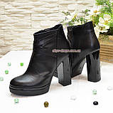 Зимние женские классические ботинки на высоком каблуке, из натуральной черной кожи, фото 4