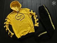 Мужской зимний спортивный костюм Off-White (black/yellow), спортивный зимний костюм Офф-Вайт