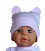 Красивая шапочка с ушками для новорожденного в роддом хлопок розовая