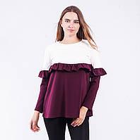 Блуза  женская  двухцветная с длинным рукавом