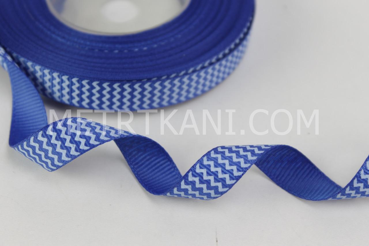 Лента репсовая зигзаг белый  на синем,ширина 12 мм РП-12-17