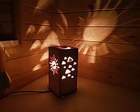 Детский Светильник Ночник Тучки и Солнце - Дерево - 20×11 см