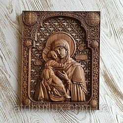 Икона резная из дерева. Владимирской Божьей Матери (1)