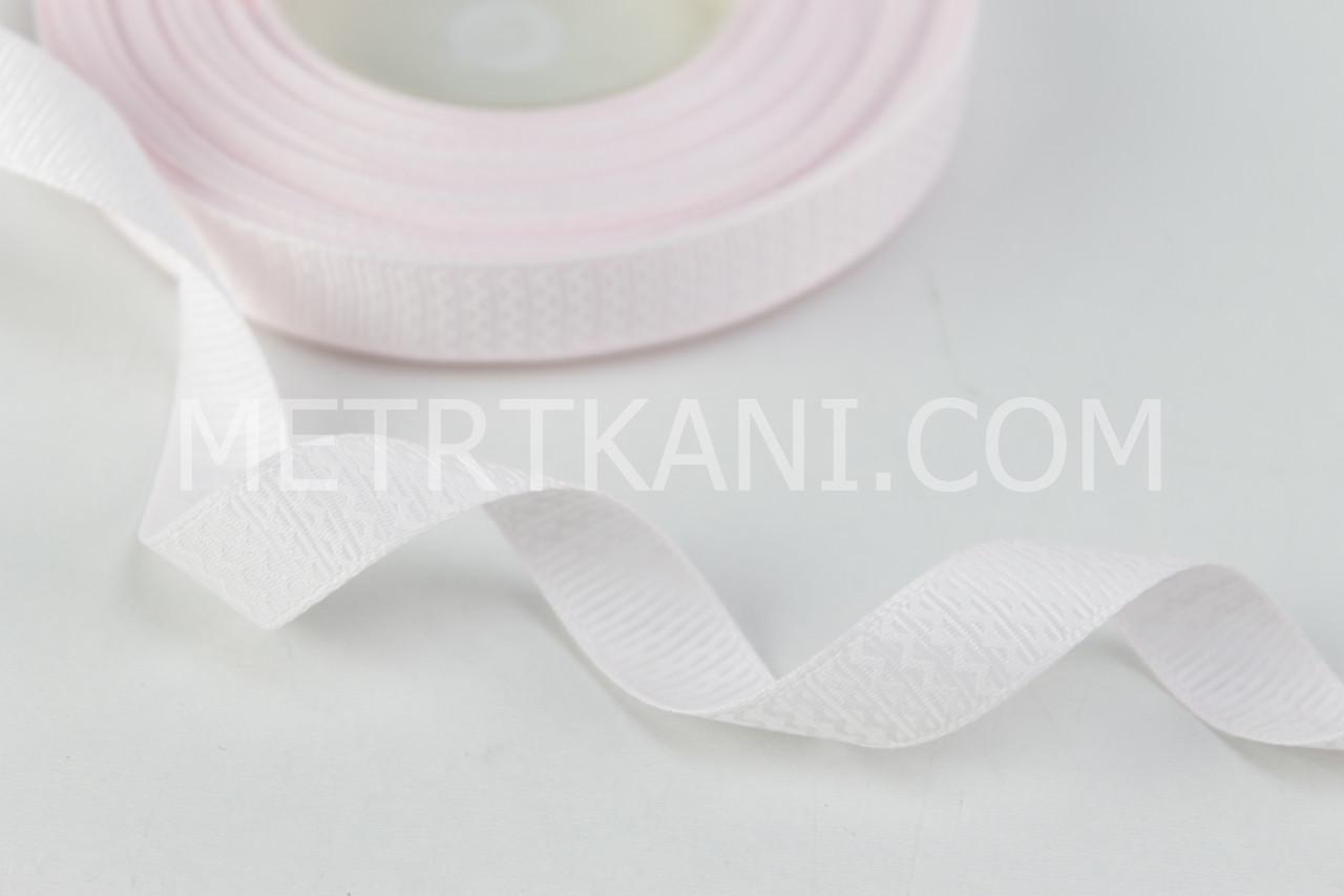 Лента репсовая зигзаг белый  на бледно-розовом, ширина 12 мм РП-12-18