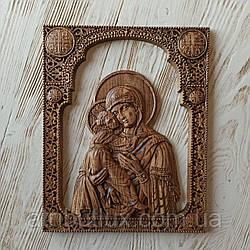 Икона резная из дерева. Владимирской Божьей Матери (3)