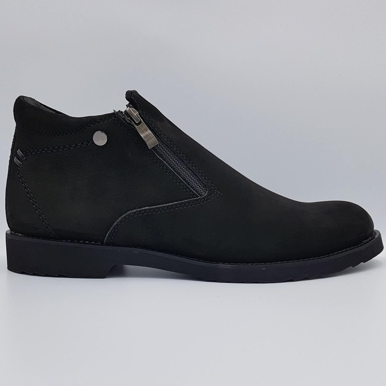 Зимние кожаные мужские ботинки Dan Shoes черные B0030/30