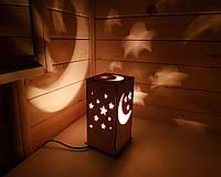 Светильник Ночник Луна и Звезды - в Детскую Комнату- Дерево - 20×11 см