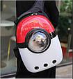 Рюкзак переноска для котов с иллюминатором Сумка для перевоза животных Красный с белым (M90390), фото 9