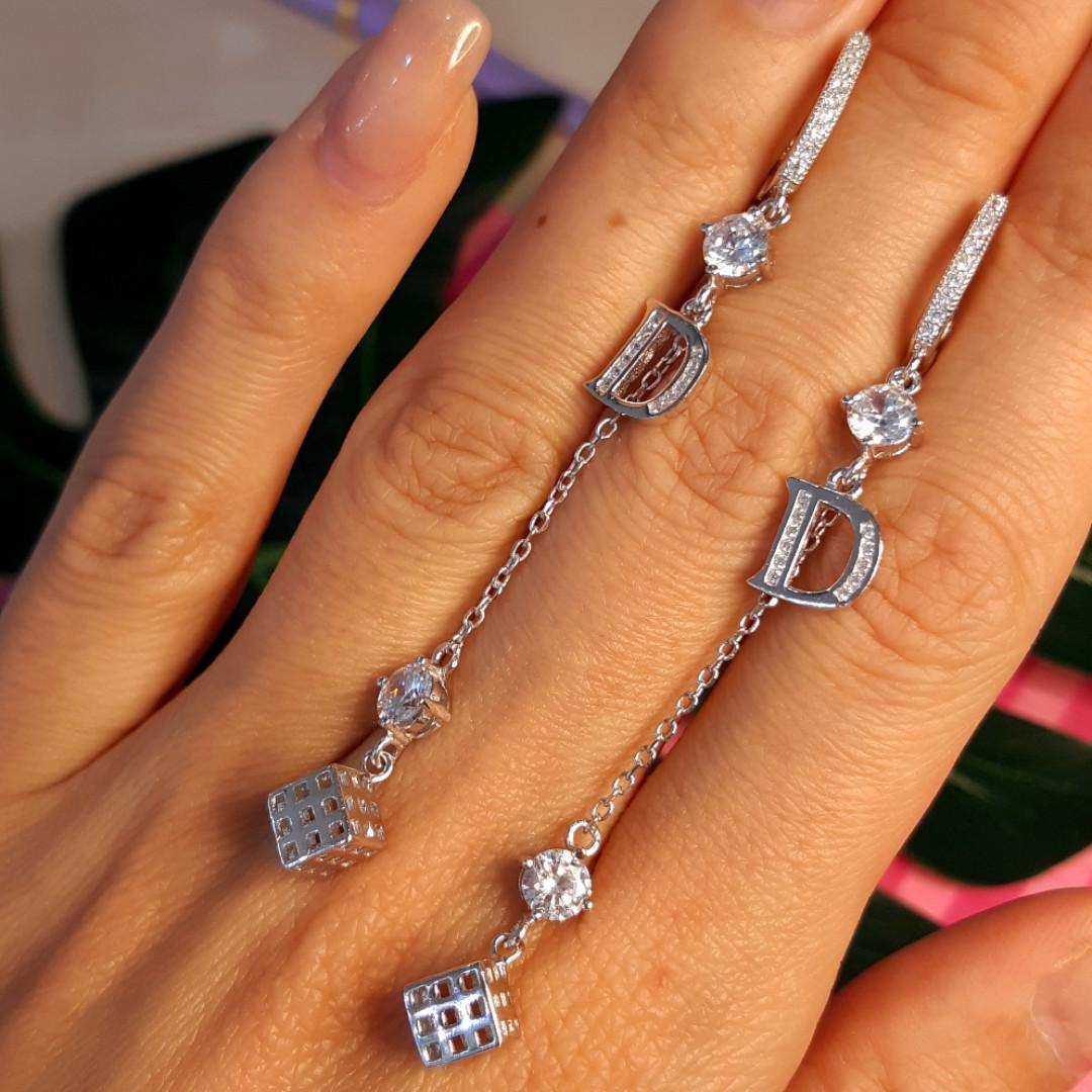Серебряные брендовые серьги Д - Серебряные серьги-цепочки - Серьги-висюльки серебро