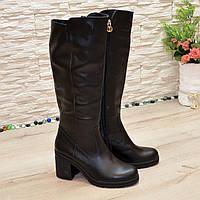 Женские кожаные демисезонные сапоги на устойчивом каблуке, фото 1