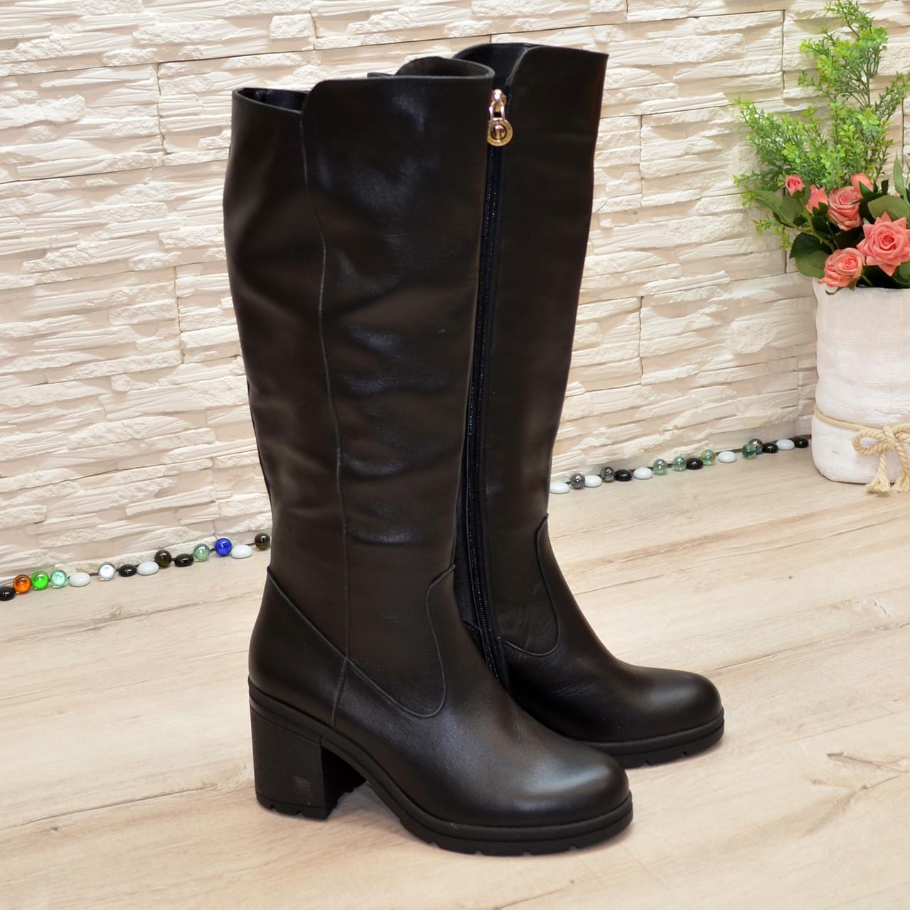 Женские кожаные демисезонные сапоги на устойчивом каблуке