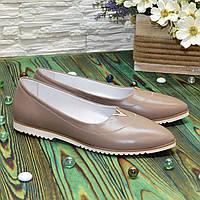 Женские кожаные туфли с заостренным носком, декорированы фурнитурой. Цвет визон., фото 1