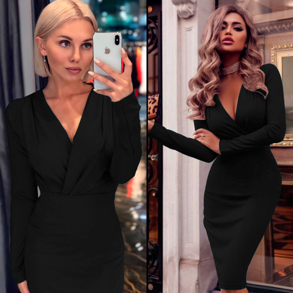 Черное платье футляр (Код MF-193)