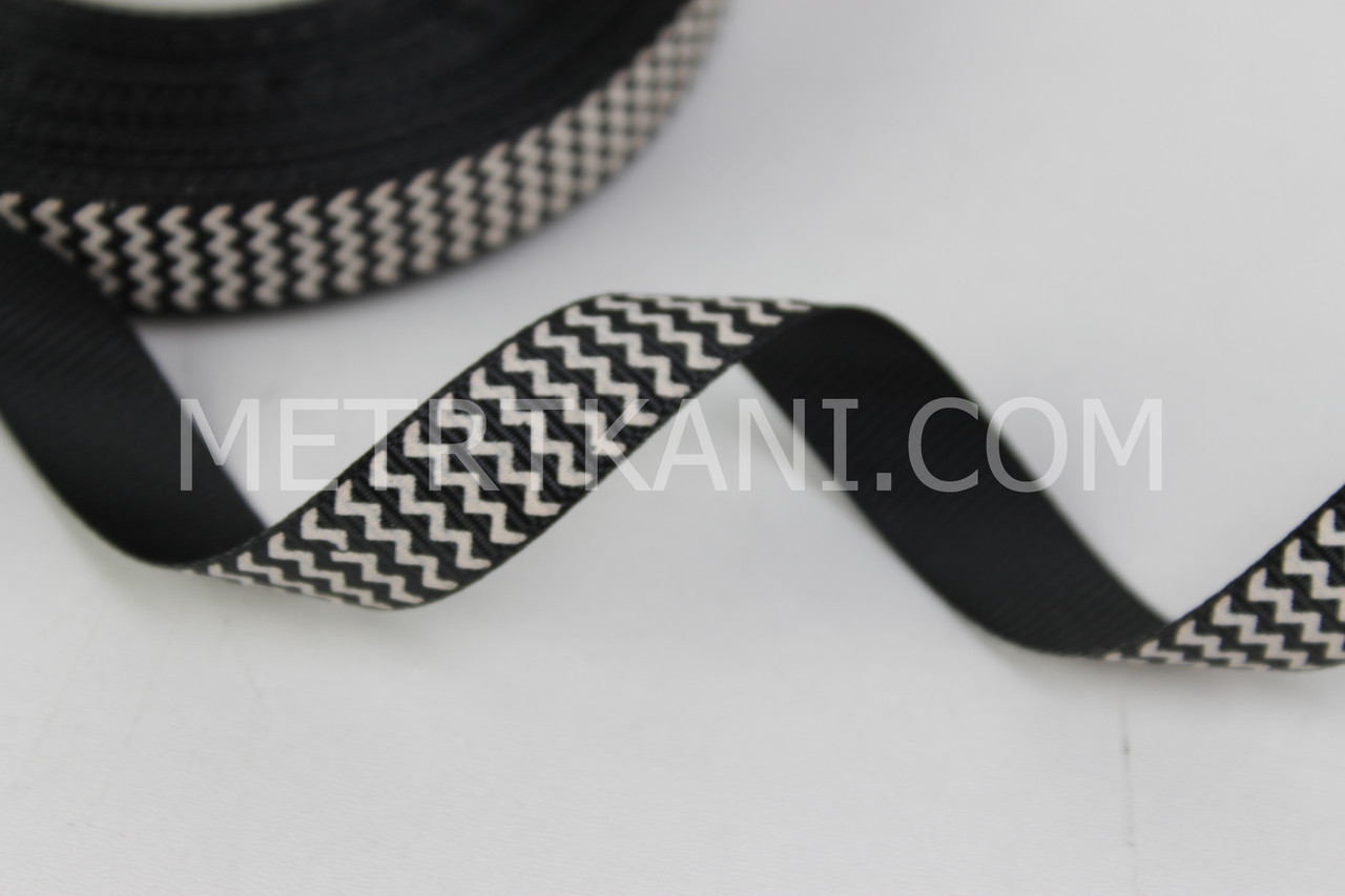 Лента репсовая зигзаг белый на черном , ширина 12 мм РП-12-24