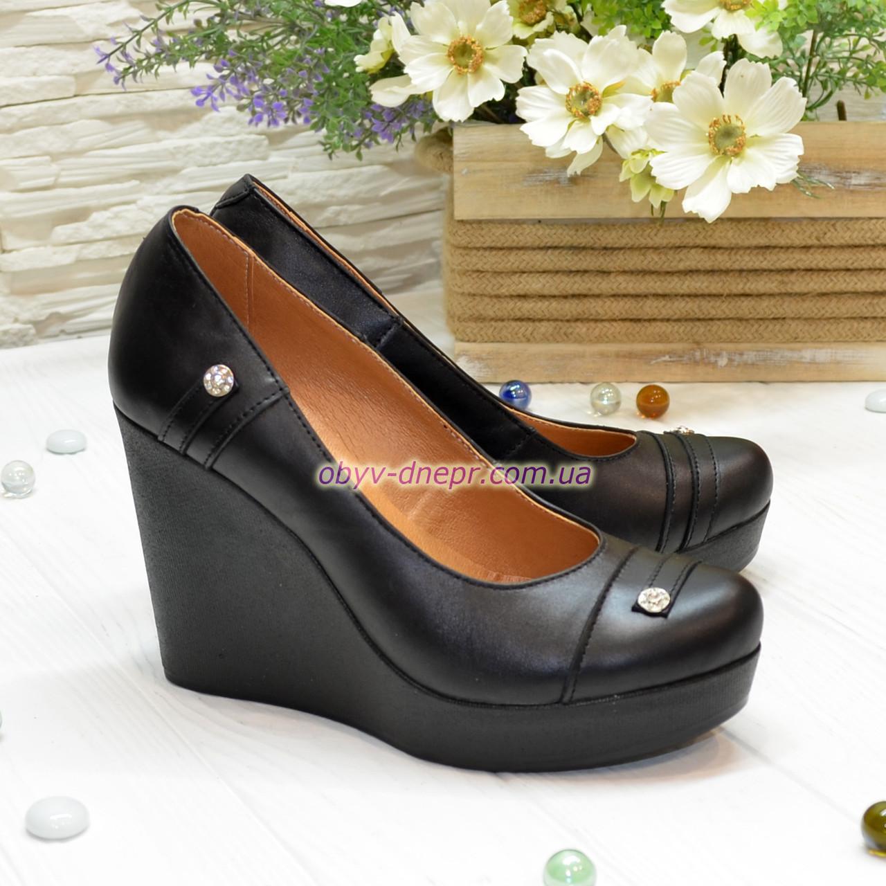 Женские кожаные туфли на устойчивой высокой платформе