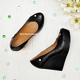 Женские кожаные туфли на устойчивой высокой платформе, фото 2