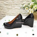 Женские кожаные туфли на устойчивой высокой платформе, фото 4
