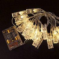 Гирлянда  с прищепками для фото 20 led  на батарейках 2 шт AA