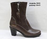 Женские зимние кожаные полусапожки на устойчивом каблуке, фото 1