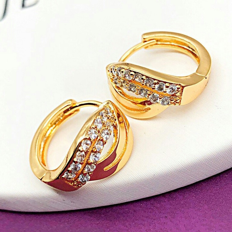 Серьги-колечки женские позолоченные. Xuping