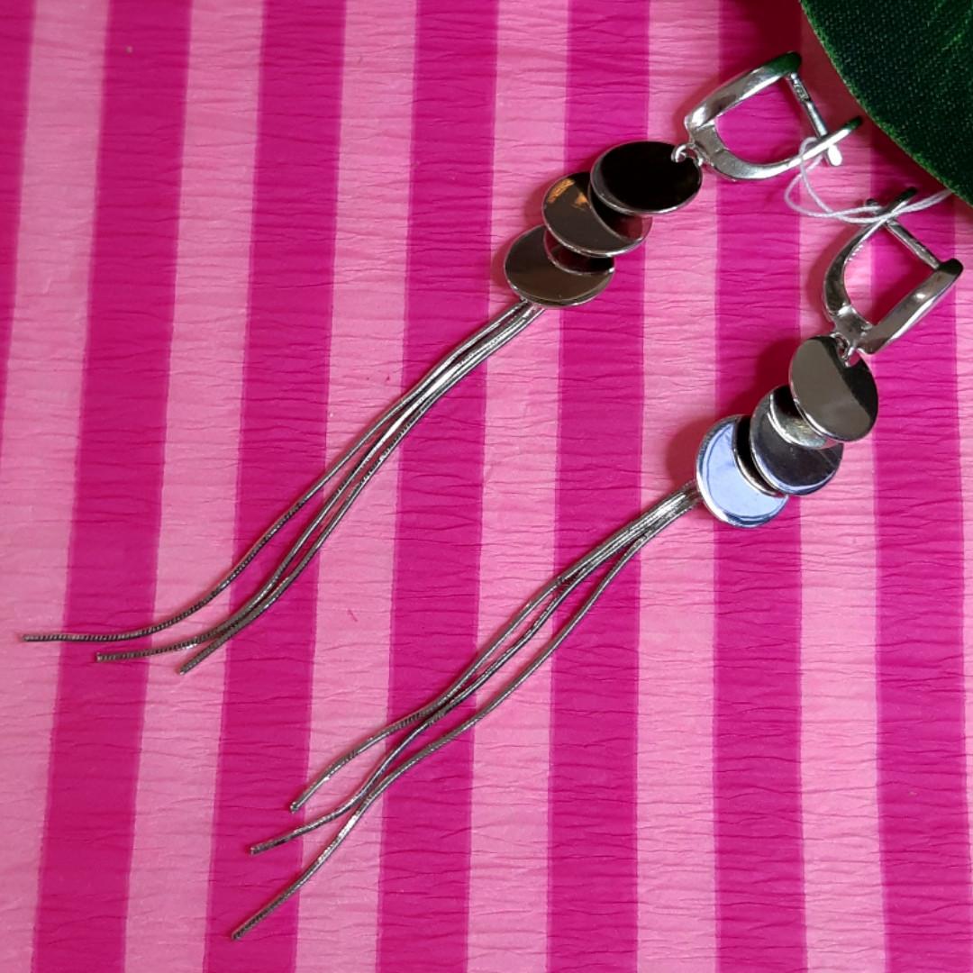 Серебряные серьги-цепочки с монетками - Серьги длинные серебряные