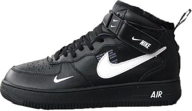 """Мужские зимние кроссовки Nike Air Force 1 Mid '07 LV8  """"Black"""""""