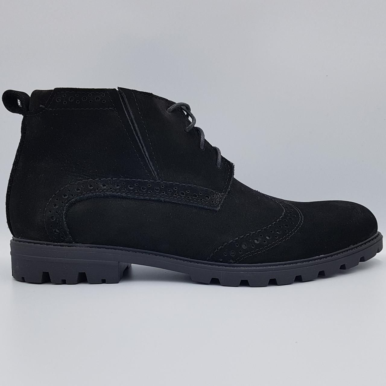 Зимние замшевые мужские ботинки Dan Shoes черные на меху B0032/32